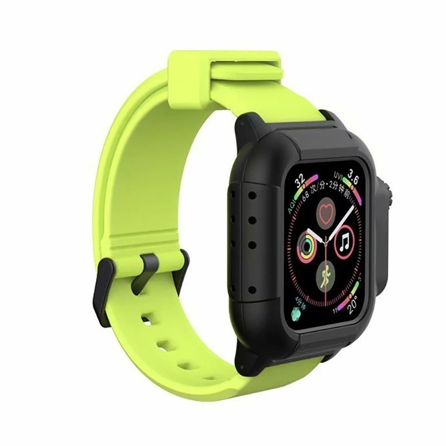 Waterproof Case for Apple Watch Band 4 iWatch Bands Silicone Strap 44mm 40mm Bracelet Smart Watch Accessories  yellow-green_44MM