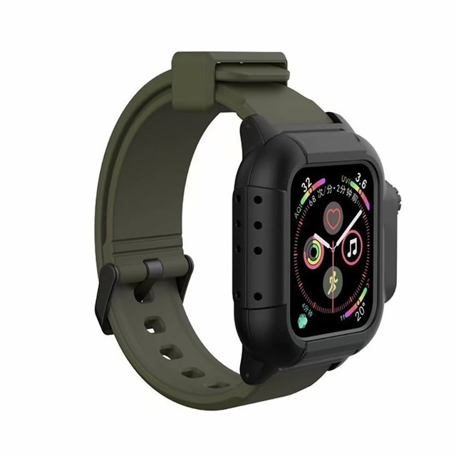 Waterproof Case for Apple Watch Band 4 iWatch Bands Silicone Strap 44mm 40mm Bracelet Smart Watch Accessories  ArmyGreen_44MM