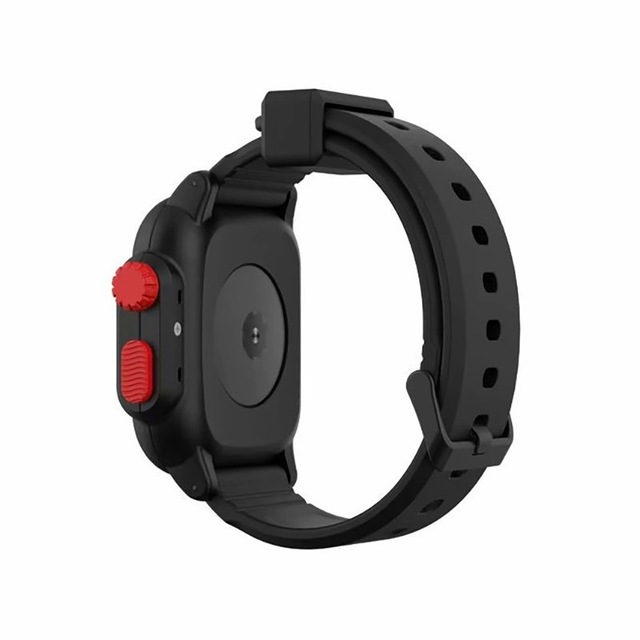 Waterproof Case for Apple Watch Band 4 iWatch Bands Silicone Strap 44mm 40mm Bracelet Smart Watch Accessories  Black red_44MM