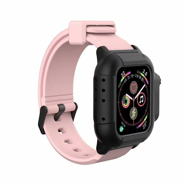 Waterproof Case for Apple Watch Band 4 iWatch Bands Silicone Strap 44mm 40mm Bracelet Smart Watch Accessories  Pink_44MM