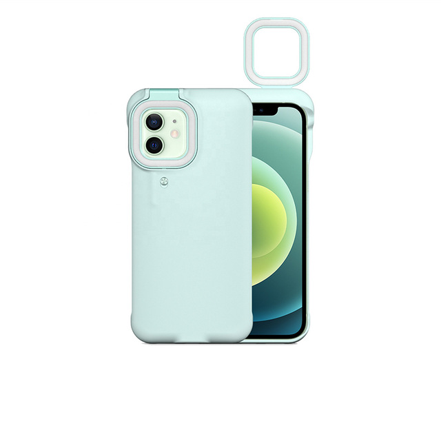 Mobile Phone Protective Case With Night Selfie Fill Light Suitable For Iphone12 blue_iPhone 12promax