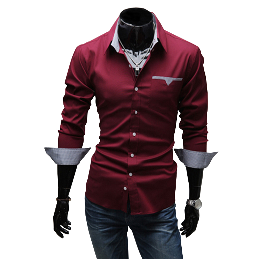 Men Casual All-match Business Solid Color Pocket Formal Shirts Red wine_XL