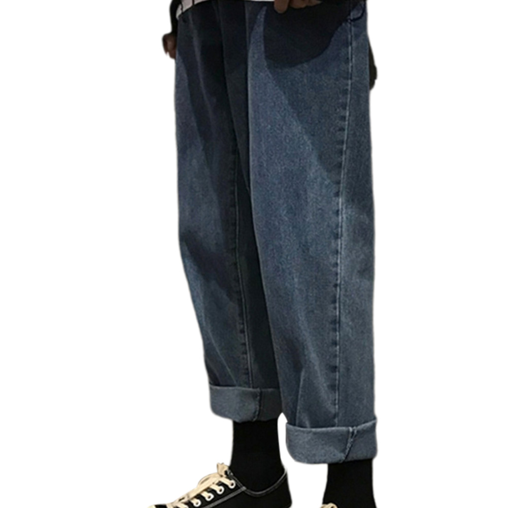 Men Jeans Denim Pants Straight Bottom Loose Casual Male Trousers  Blue_S