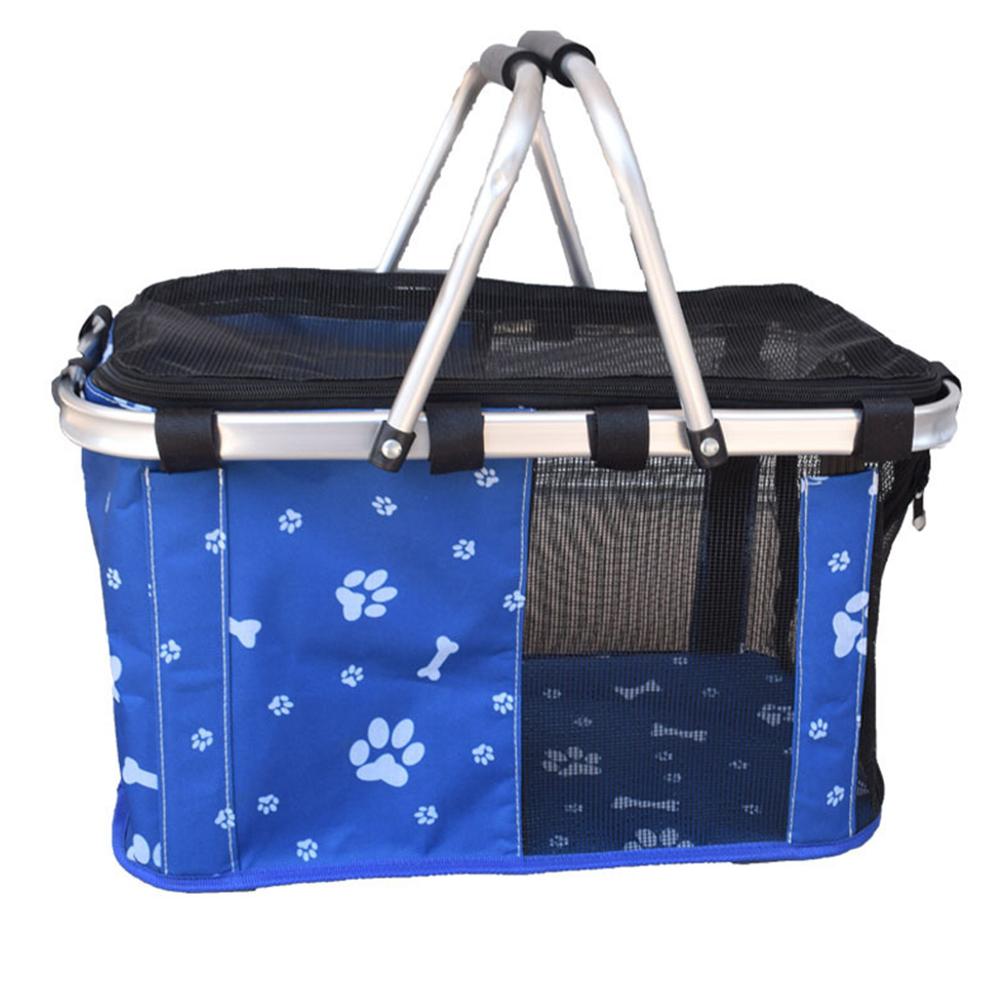 Portable Tote Basket Bag for Pet Dog Outdoor Travel Large_Upgrade blue bones