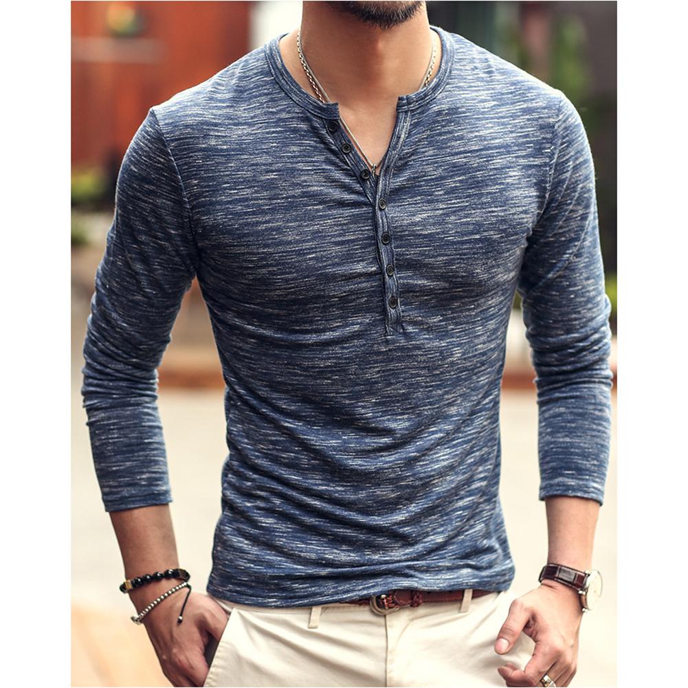 Men Stylish Long-Sleeve Slim T-Shirt Simple Solid Color Button Tops Base Shirt blue_L