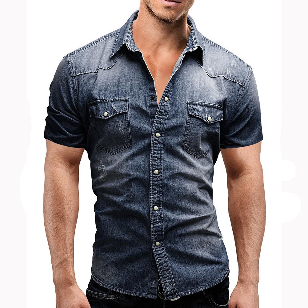 Men Summer Casual Denim Short Sleeves Front Buttons Shirt Dark blue_L