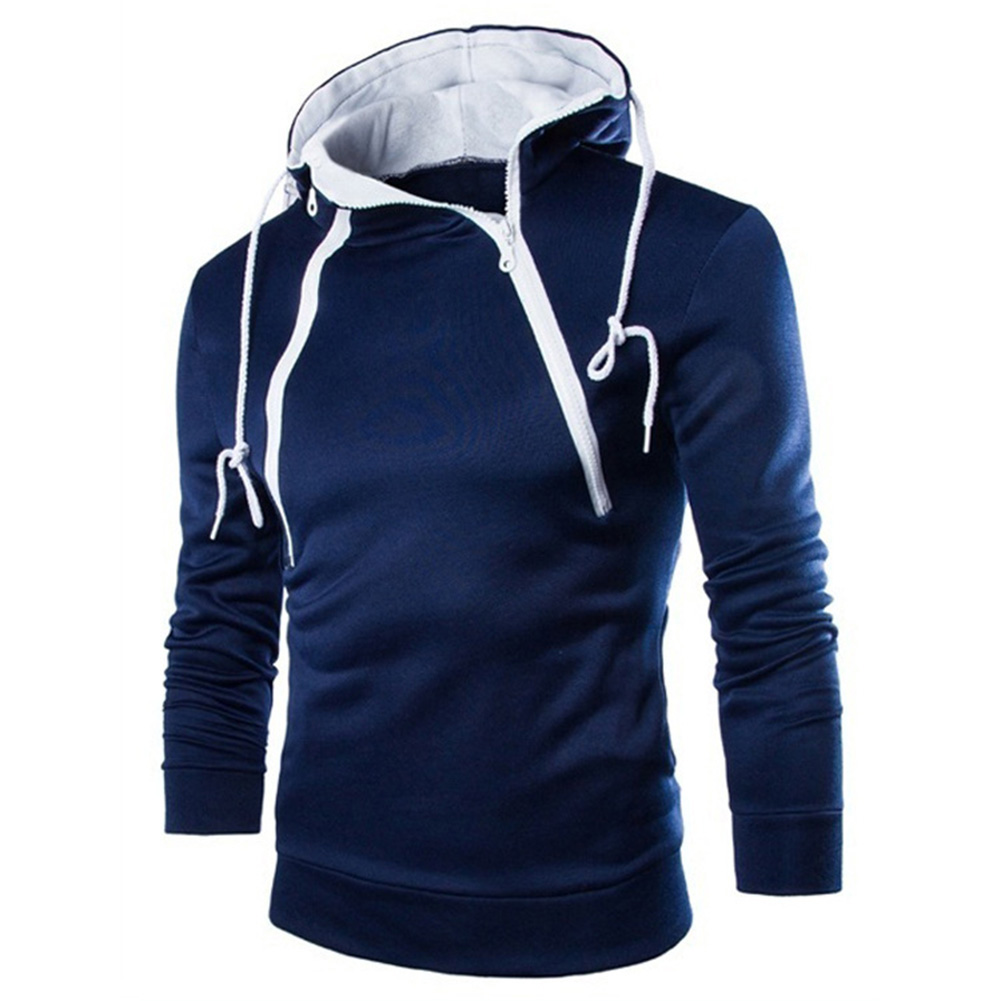 Men Casual Sports Long Sleeve Double Zipper Hoodie Simple Solid Color Hooded Sweatshirt  Navy_XL