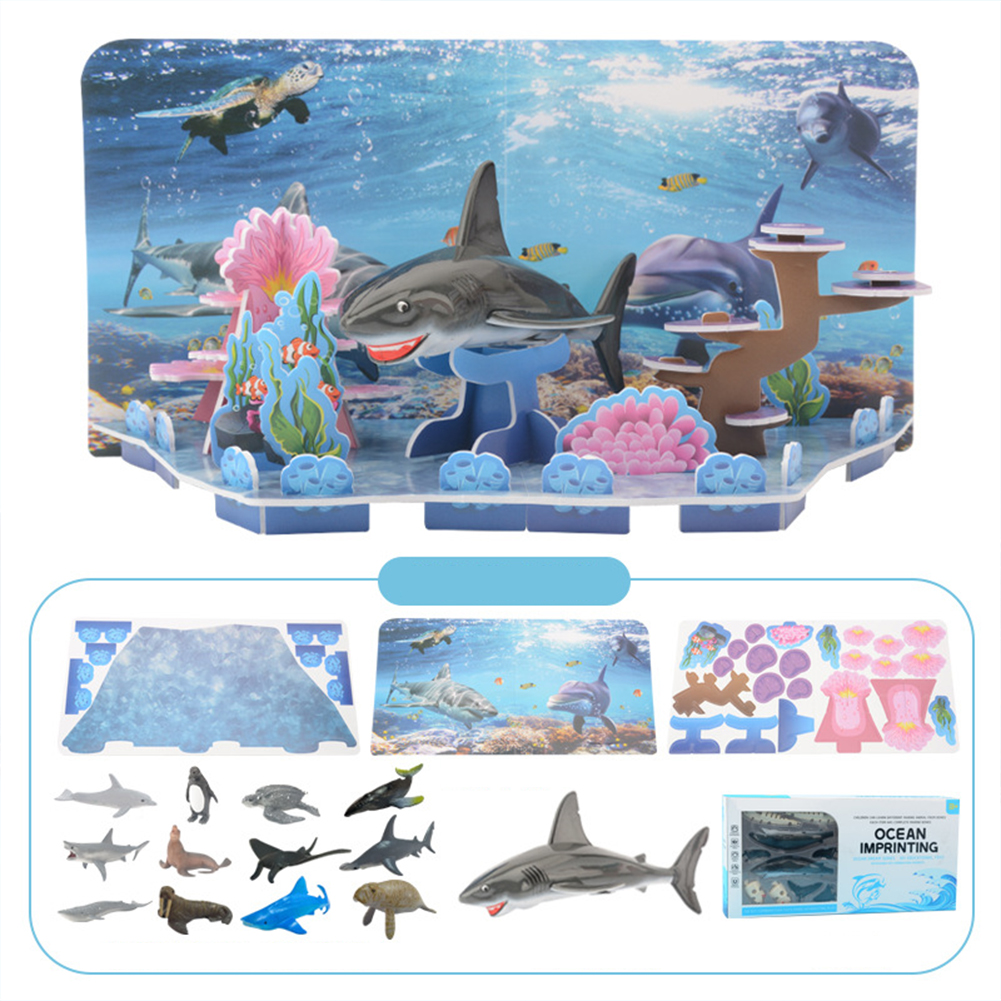 3d Puzzle  Jigsaw Puzzle Ocean Animal Diy Assembly Scene Science Education Children Toys Photo Color