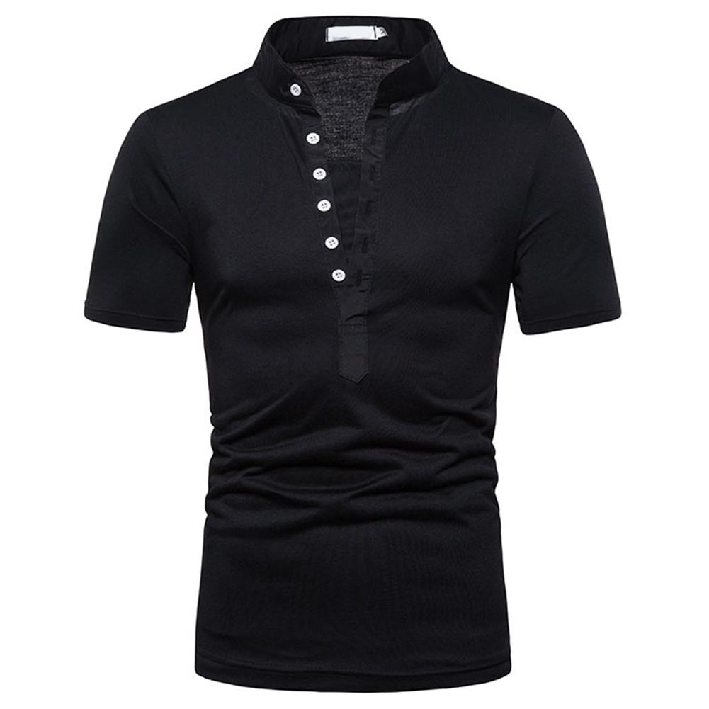 Fashion Men Slim Fit V Neck Short Sleeve Muscle Tee T-shirt  black_XL