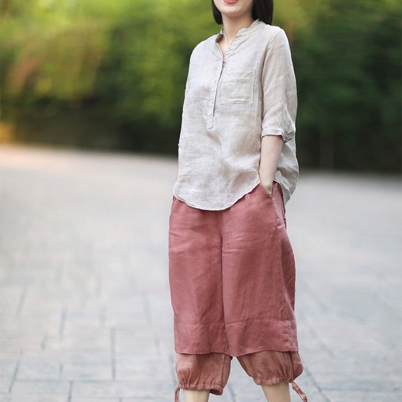 Women Summer Casual Cotton and Linen Stand Collar Shirt  Loose Mid-length Sleeve Shirt Beige_M