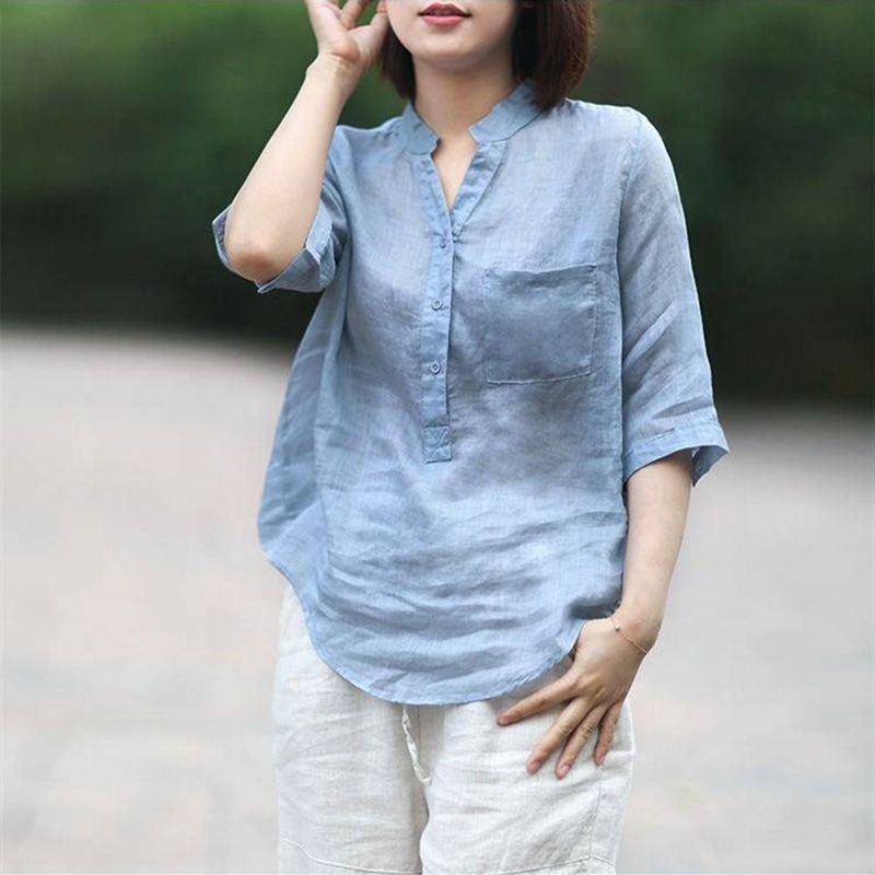 Women Summer Casual Cotton and Linen Stand Collar Shirt  Loose Mid-length Sleeve Shirt Ice blue_XXXL