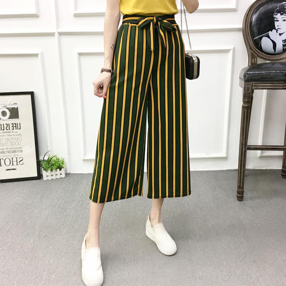 Women Black High Elastic Waist Ninth Loose Pants for Summer Wear Green strip_One size