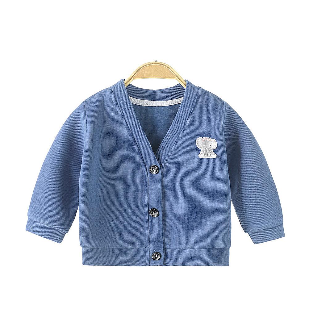 Children's Sweater Cardigan Cartoon Pattern Jacket for  0-3 Years Old Kids Navy blue_80cm
