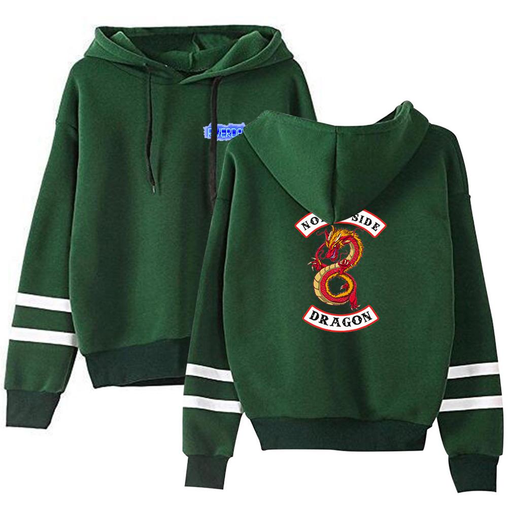 Men Women American Drama Riverdale Fleece Lined Thickening Hooded Sweater Green E_XXL