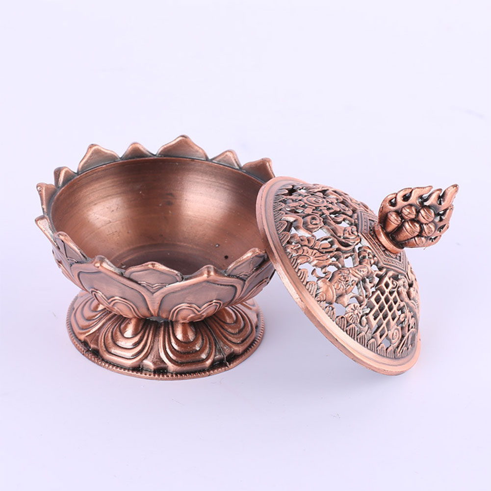Pretty Alloy Lotus Incense Burner Exquisite Censer Home Office Hotel Decoration Gift