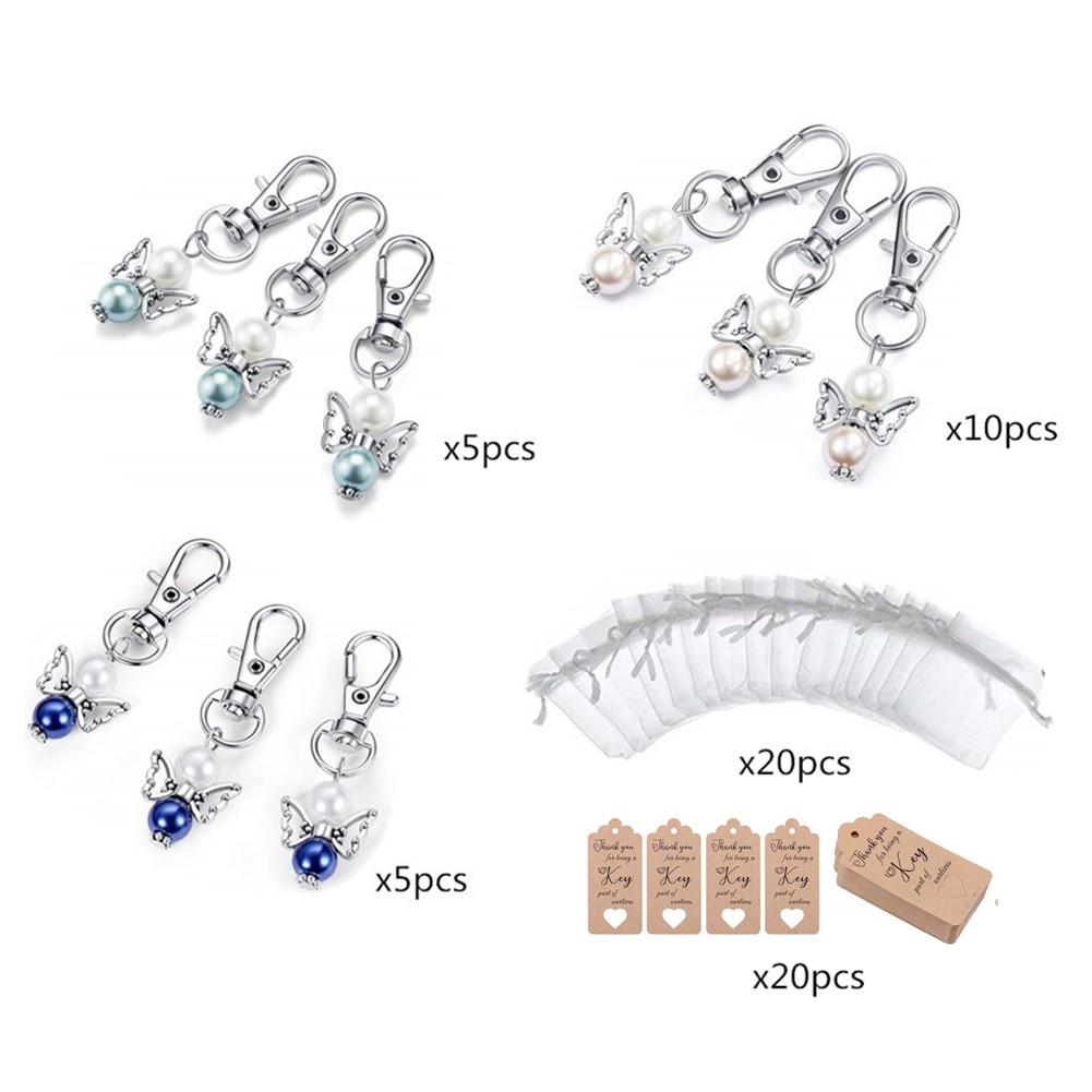20Pcs/Set Guardian Angel Shape Hanging Pendant Key Chain Yarn Bag Label for Wedding Birthday Party