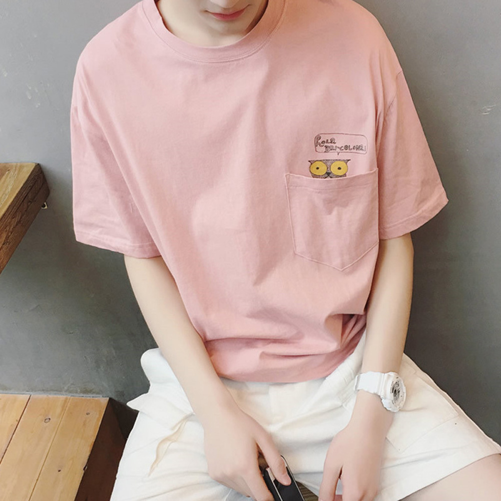 Men Summer Fashion Animal Pattern Print Short-sleeved T-shirt Top Pink_L