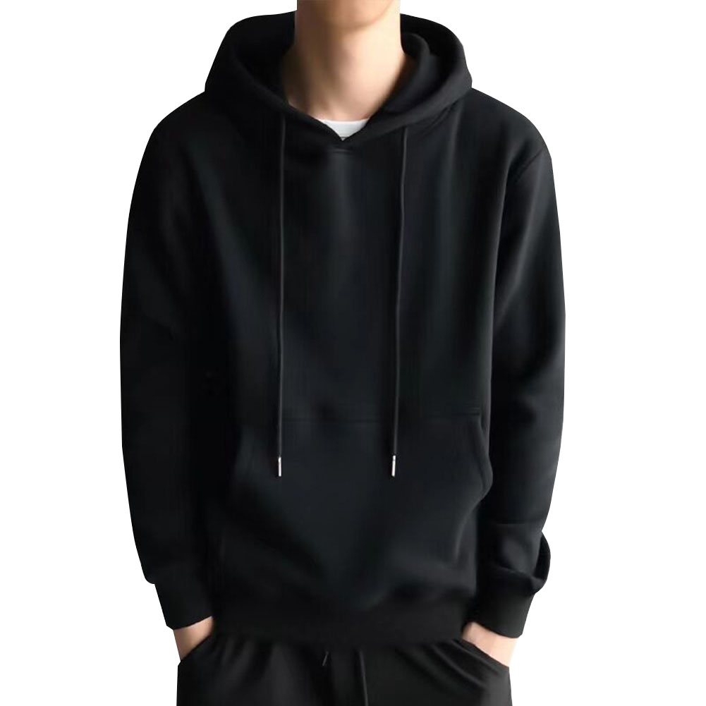 Men Kangaroo Pocket Plain-Colour Sweaters Hoodies for Winter Sports Casual  black_XL