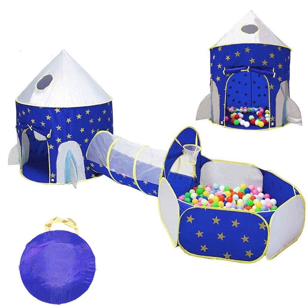 [US Direct] 3 In 1 Rocket Ship Game Tent Indoor Outdoor Tunnel Ball Pit With Hoop Set For Kids Blue