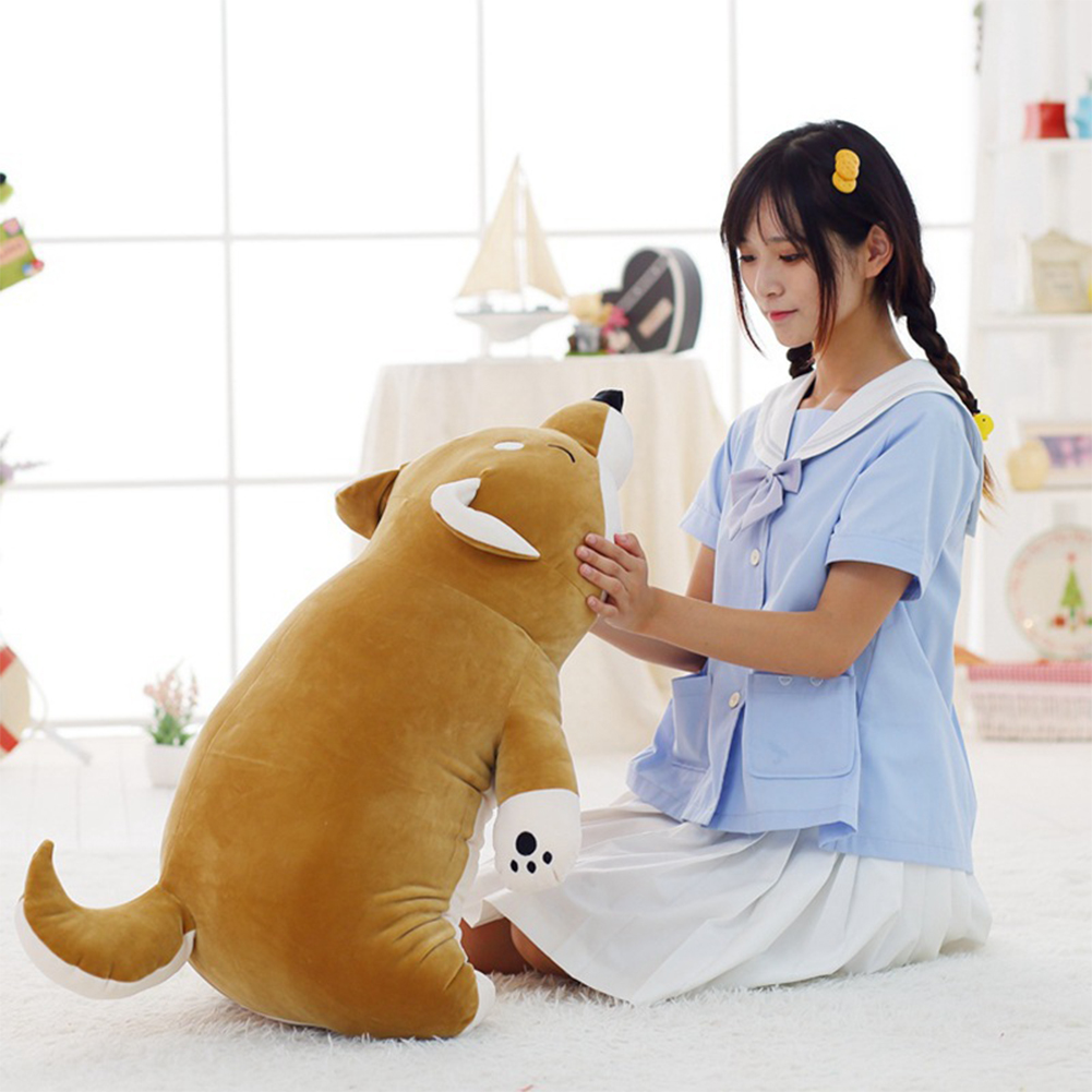 Lovely Fat Shiba Inu Dog Plush Toys Stuffed Soft Cartoon Pillow Dolls Gift for Kids Girls Baby Children Brown Soft Shiba Inu