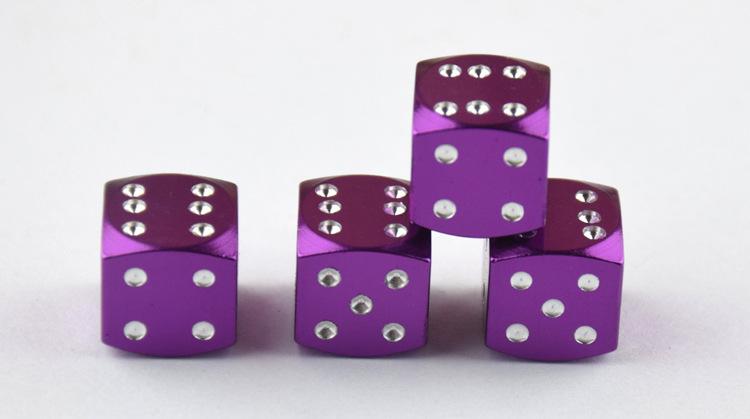 4PCS Aluminum Dice-Shape Car Tire Valve Caps Dust Cap Auto Accessories purple