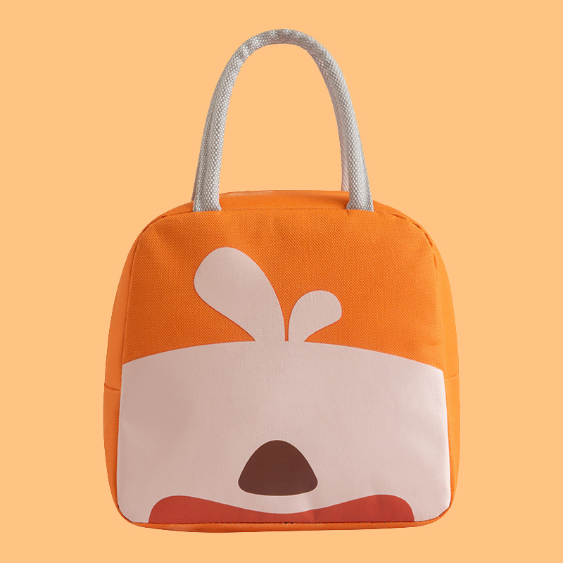 Portable Cartoon Lunch Case Insulation Bag Thermos Food  Container Orange