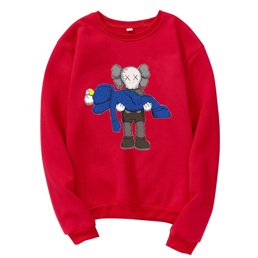 Men Women Loose Cute Cartoon Printing Round Collar Fleece Sweatshirts red_2XL