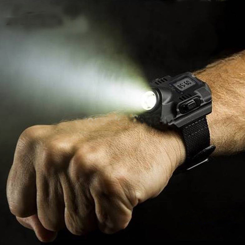 Super Bright Watch Flashlight Torch Lights Electronic Watch Outdoor Sports USB Rechargeable Mens Wrist Watch Wristband Lamp black