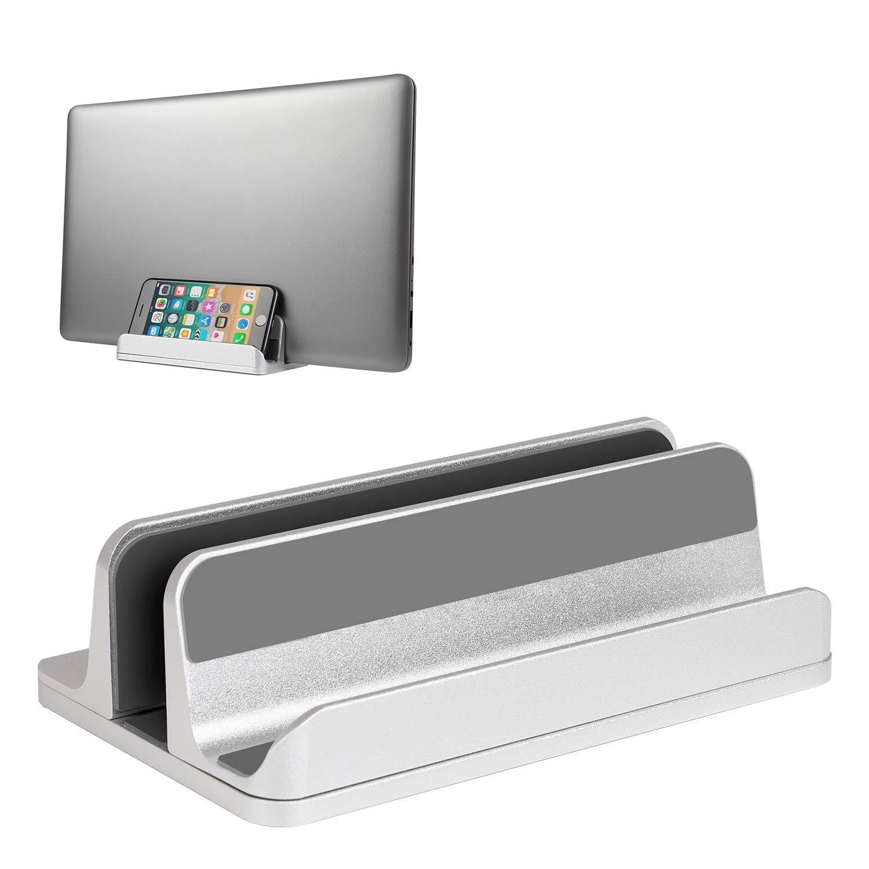 Vertical Laptop Stand Desktop Stand Adjustable Laptop Holder for MacBook Pro/Air Microsoft Surface Silver