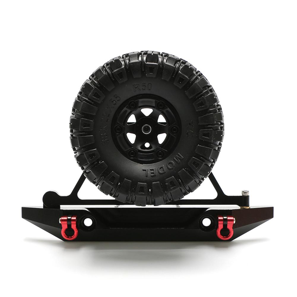 RC Axail SCX10 Rear Bumper Spare Tire Rack Winch Hook for 1/10 RC Crawler Car RC4WD D90 Aluminum Alloy Upgrade Part black_Rear bumper + black tire