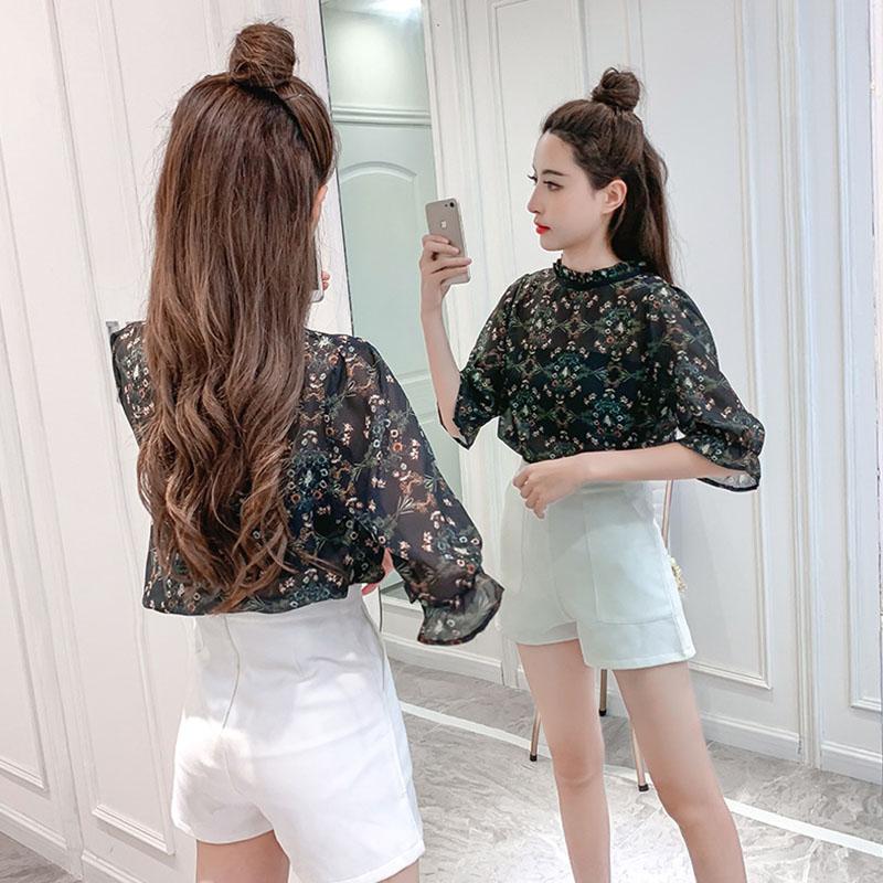 Women Spring Summer Half Sleeve Loose Printing Chiffon Shirt with Vest Grass_XL