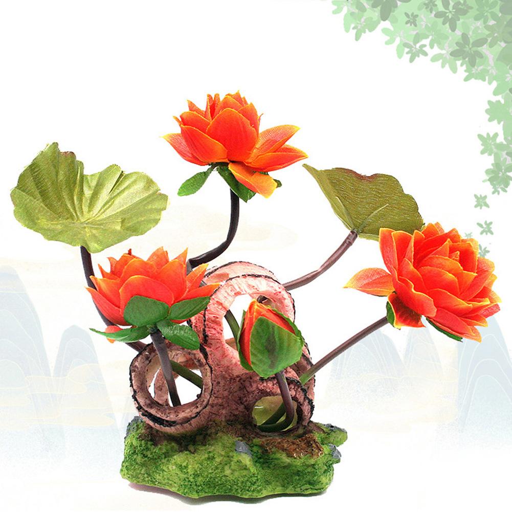 Wine Barrel Lotus Shape Decor Resin Crafts for Fish Bowl Aquarium Accessaries orange