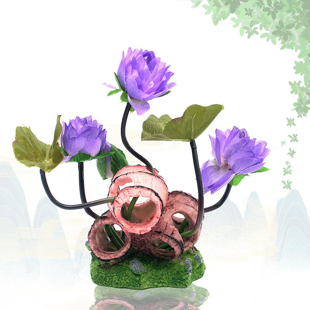 Wine Barrel Lotus Shape Decor Resin Crafts for Fish Bowl Aquarium Accessaries purple