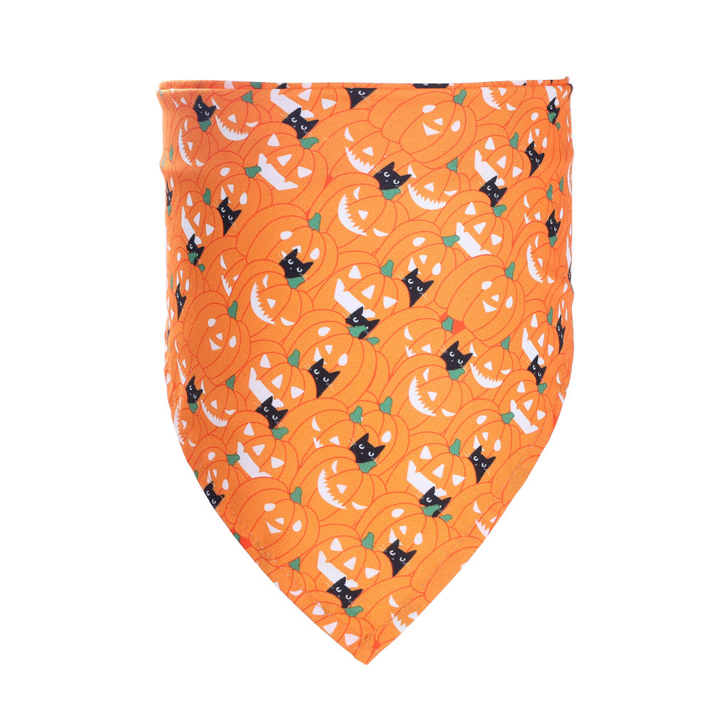 Decorative Scarf Printing Generic Pet Saliva Towel for Dogs and Cats 01 Pumpkin Cat (Single Layer)_Suitable for pets with a neck circumference of 20-46CM