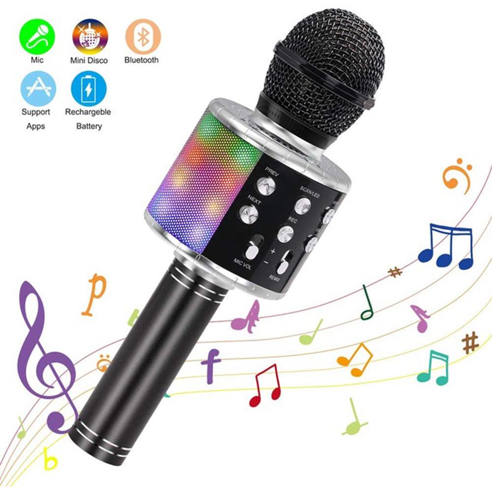 Wireless Microphone Karaoke Portable Bluetooth Speaker Home KTV Player with LED Dancing Lights black