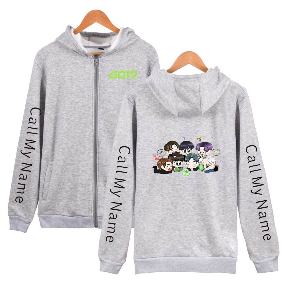 Zippered Casual Hoodie with Cartoon GOT7 Pattern Printed Leisure Top Cardigan for Man and Woman Gray D_XXL