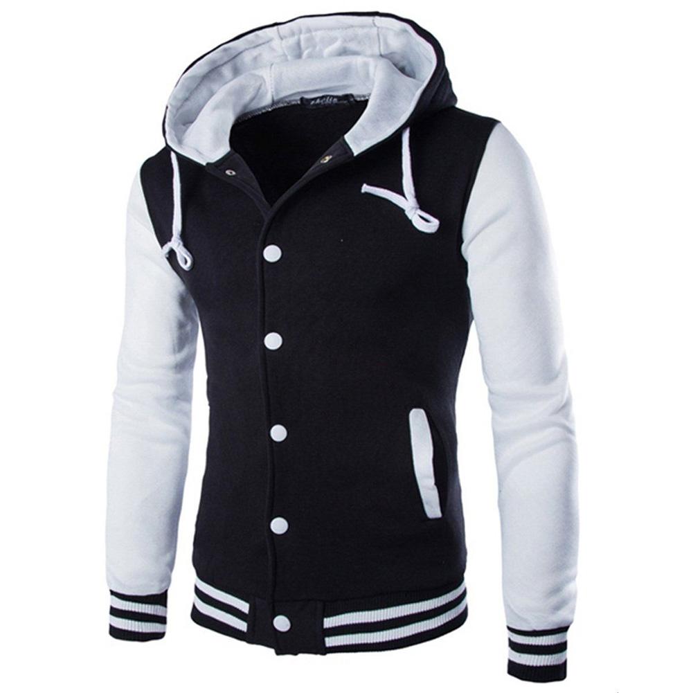 Men Fashion Slim Fit Sweatshirts Short Style Matching Color Tops Hoodies white_XL