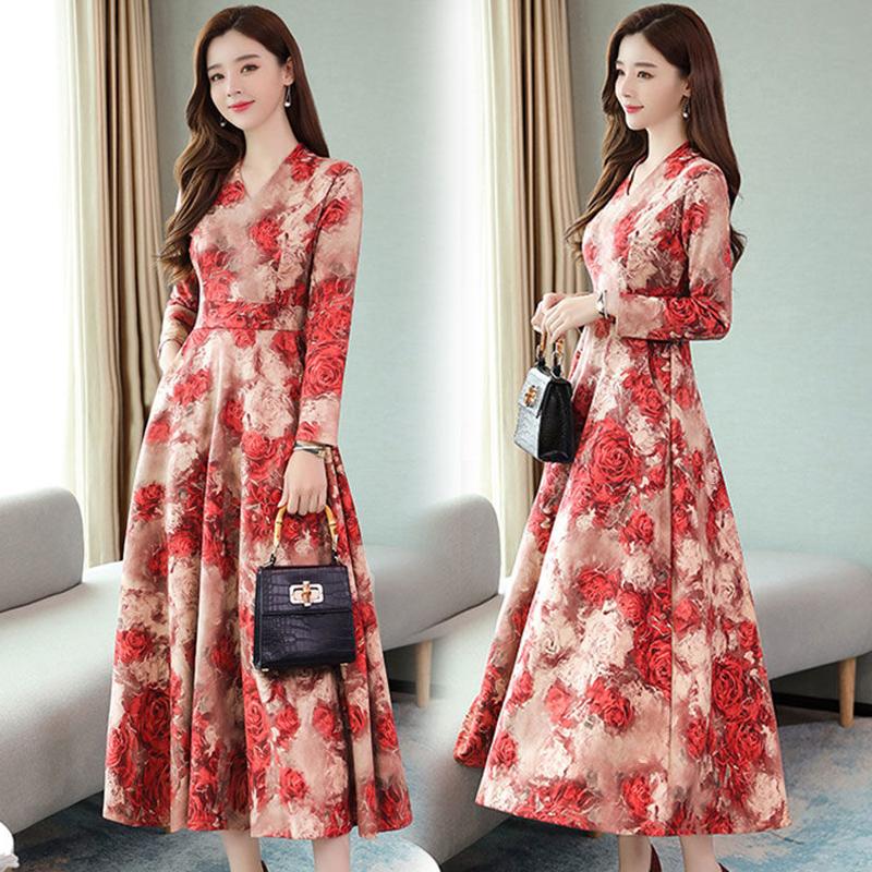 Women Autumn Winter Long Dress V- Neck Printing Floral Slim Waist Long Sleeve Dress red_L
