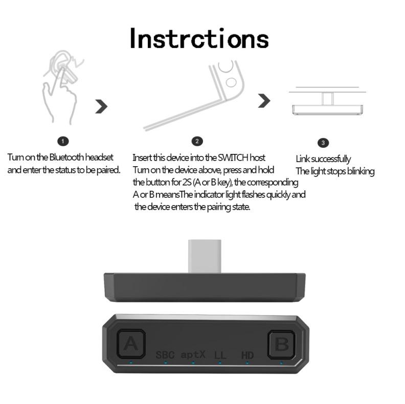 Bluetooth Adapter 2-in-1 Audio Transmitter Type-c Bluetooth V5.0  Transmitting Adapter for PS4 Nintendo Switch black