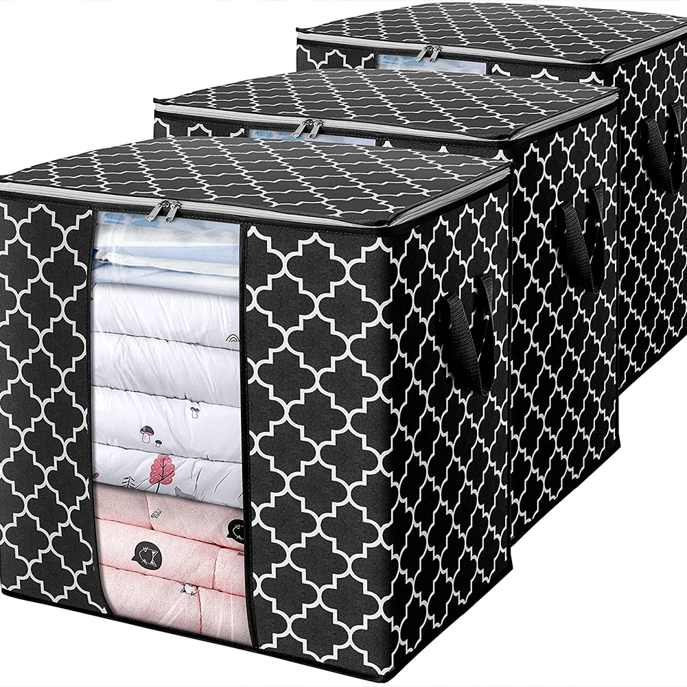 Foldable Storage  Container Quilt Bag Closet Storage Box Dustproof Organizer Black_52*37*52cm