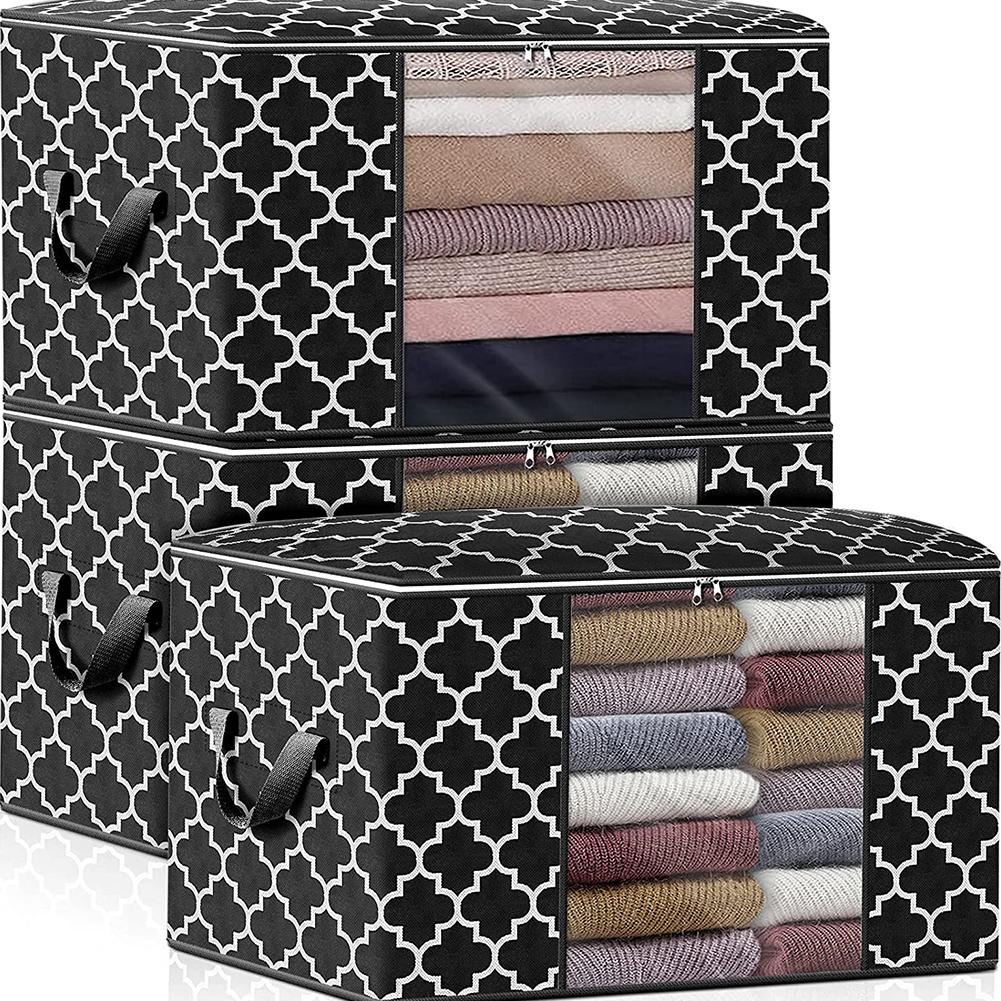 Foldable Storage  Container Quilt Bag Closet Storage Box Dustproof Organizer Black_63*45*36cm