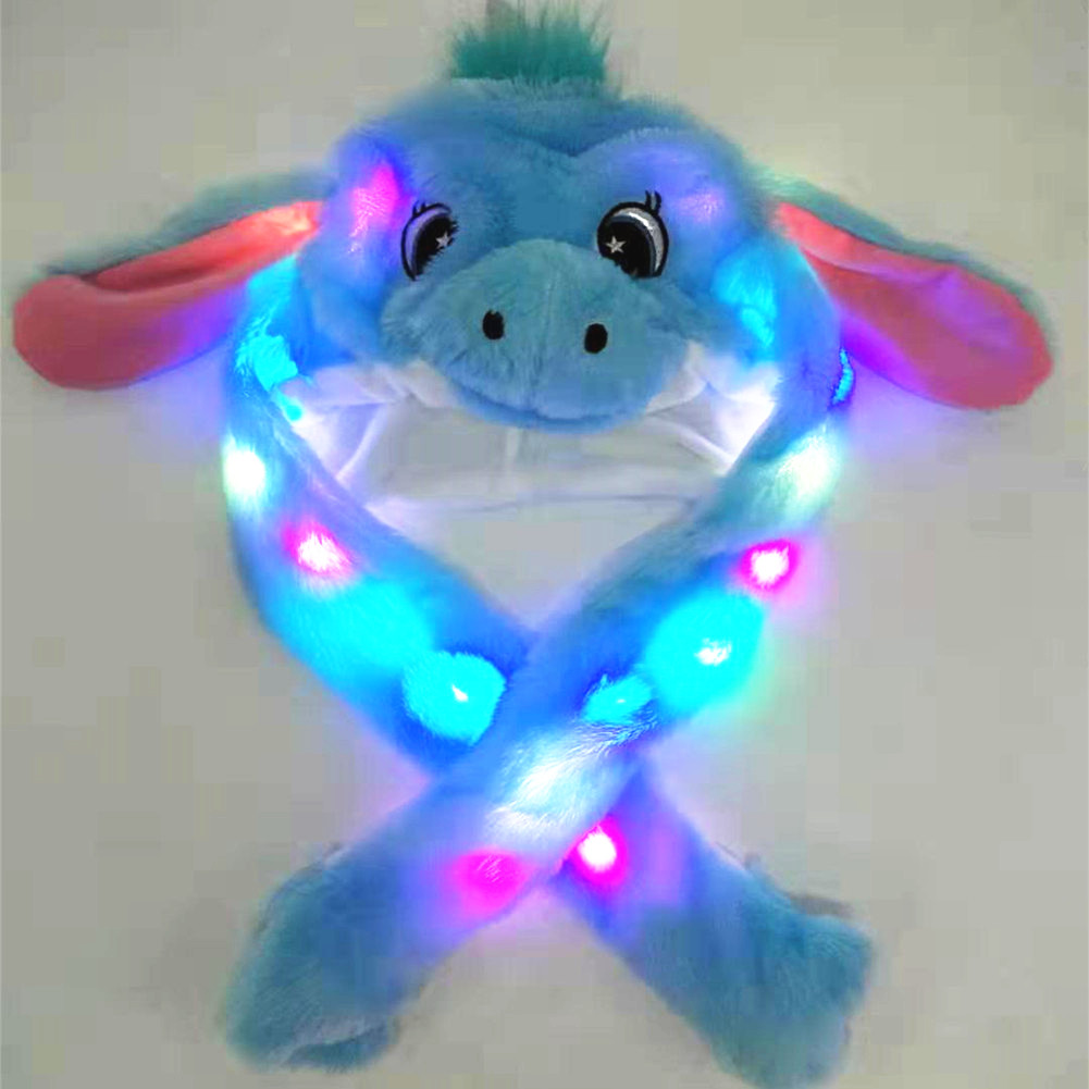 Lighting Lovely Cartoon Jumping Animal Ears Soft Plush Hat Air Bladder Cap Unicorn hat blue