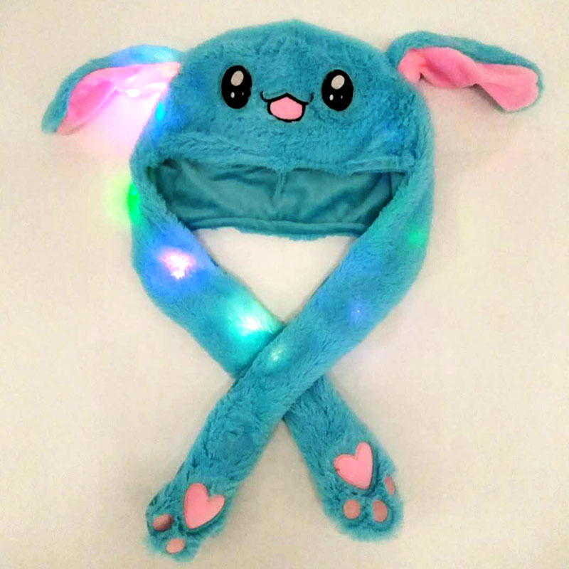 Lighting Lovely Cartoon Jumping Animal Ears Soft Plush Hat Air Bladder Cap Blue hat