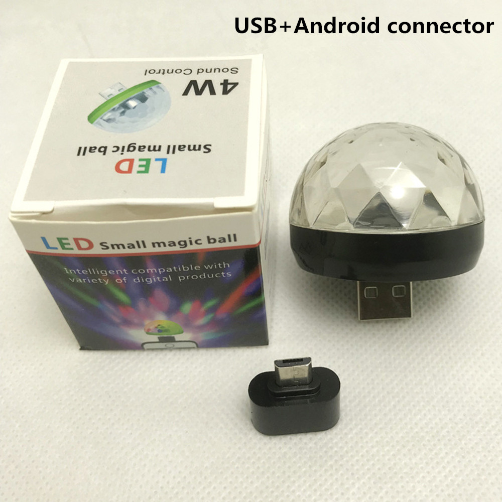 USB RGB Colors Change Magic Ball Lamp with Voice Control Adapter for Android black
