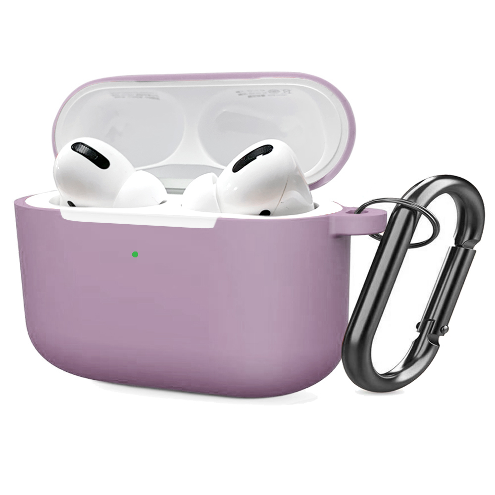 Soft Silicone Case for Airpods Pro Shockproof Hook Protective Bags With Keychain Earbuds Cover purple