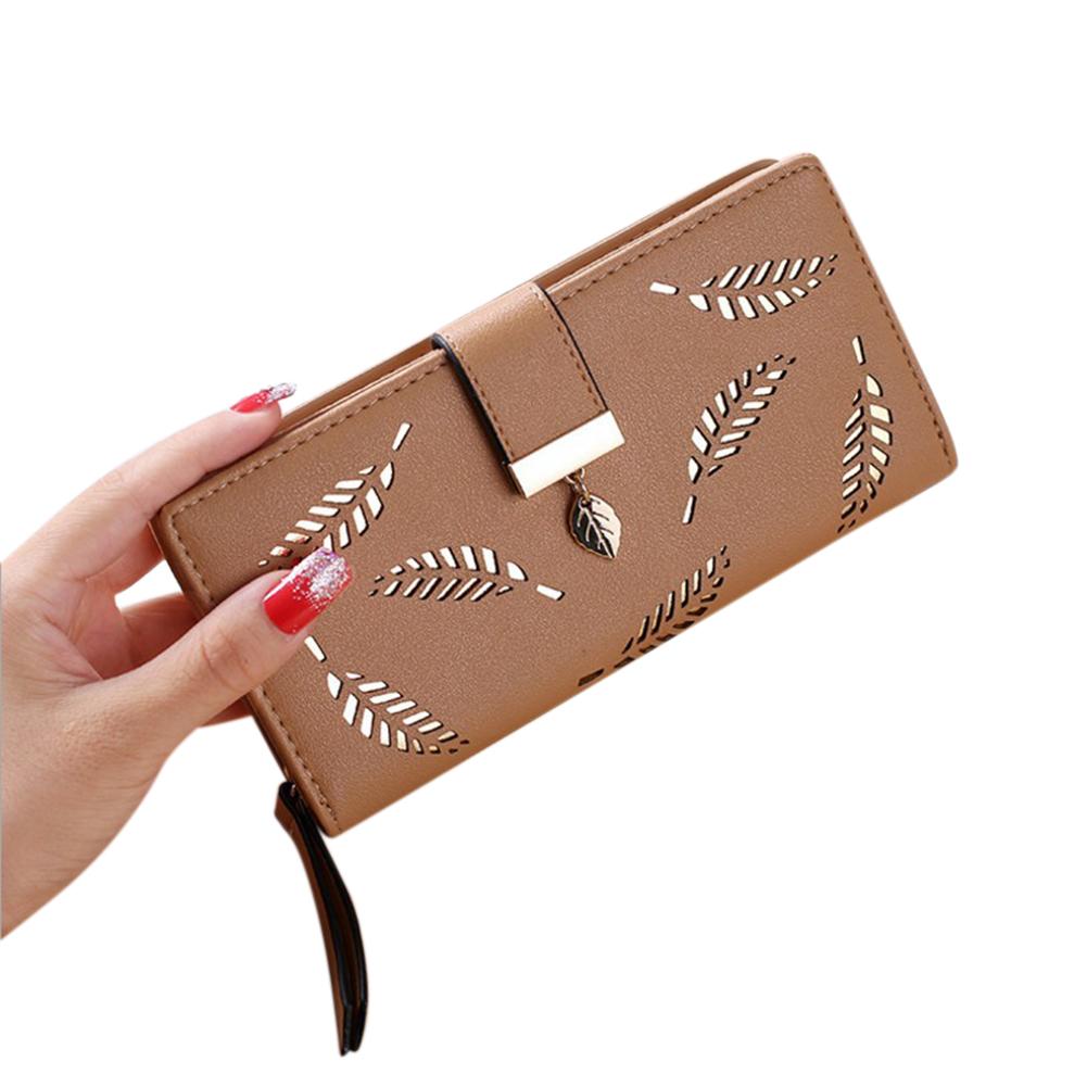[Indonesia Direct] Women Fashion PU Zipper Buckle Long Purse Card Holder Hollowed Leaves Shape Wallet  Khaki