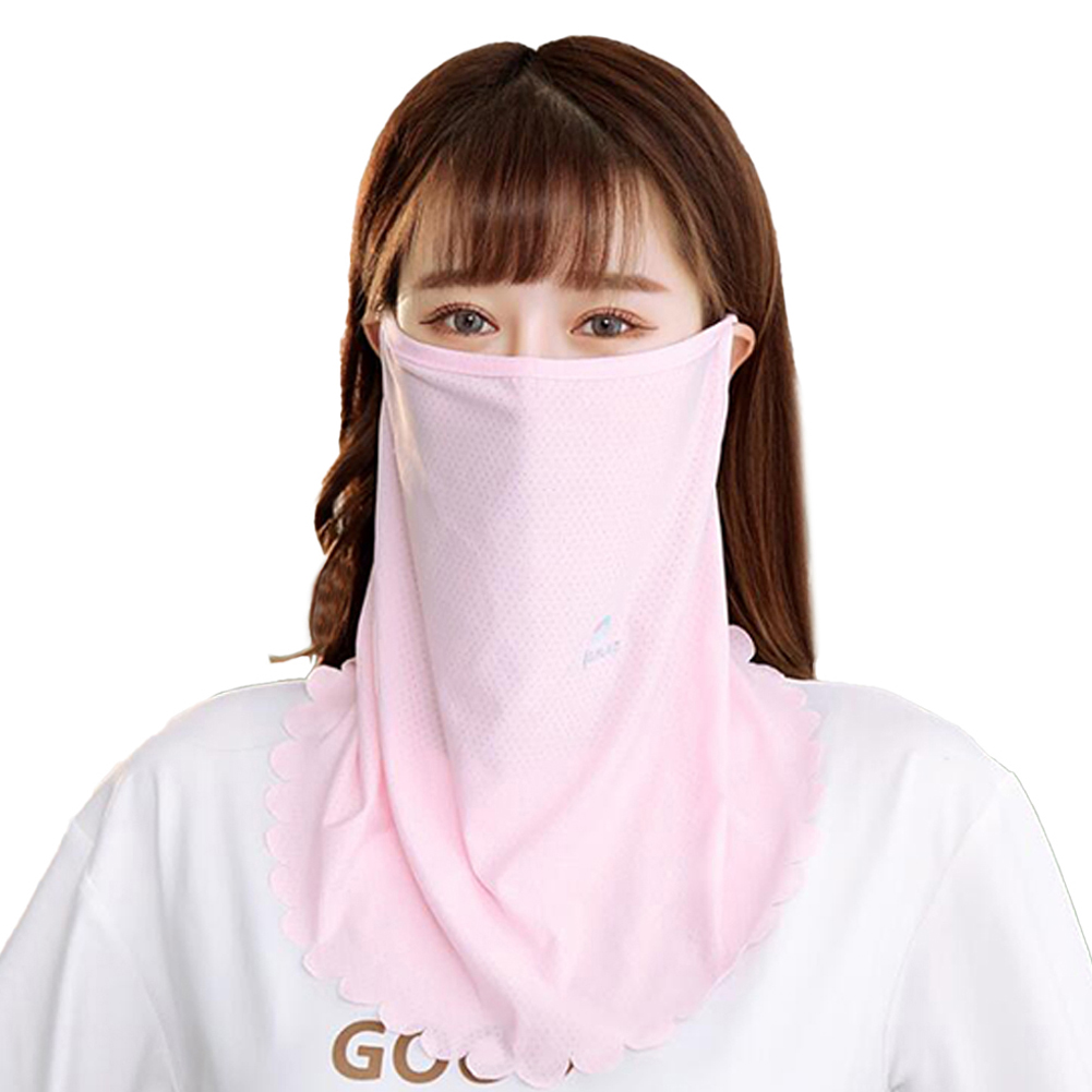 Women's Ice Silk Mesh Embroidery Daisy Sunscreen Veil To Cover The Face Hanging Ear Scarf Mask Pink_One size