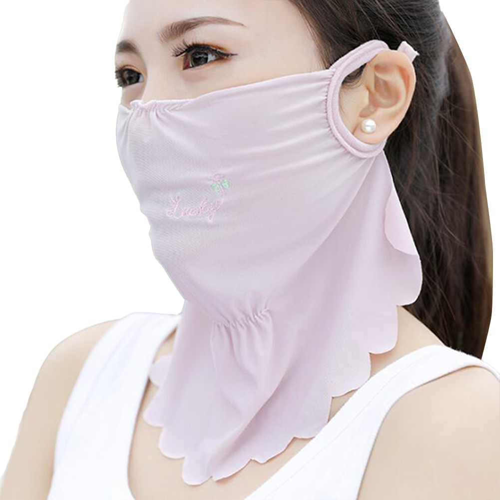 Women's Summer Flower Embroidery Wave Edge Sunscreen Ice Silk Mask Dustproof Mask Solid color purple_One size