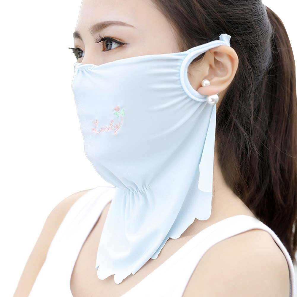 Women's Summer Flower Embroidery Wave Edge Sunscreen Ice Silk Mask Dustproof Mask Solid blue_One size