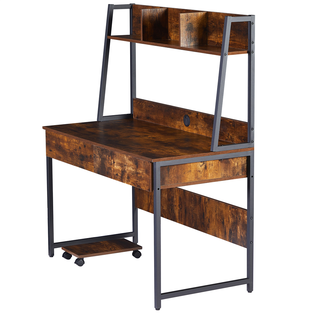 [US Direct] Computer  Desk With Book Shelf Space-saving Table Home Office Furniture Brown